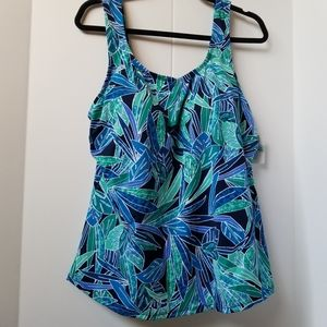 Swimsuits for All Caribbean Print Tankini Top